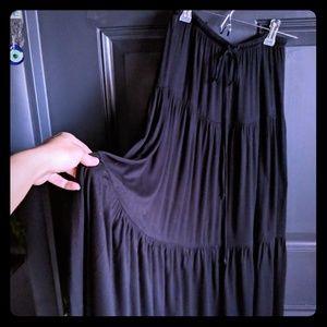 Black Tiered Boho Maxi Skirt